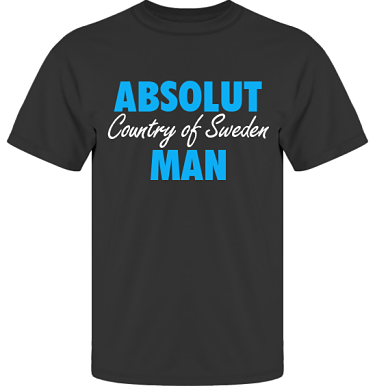 T-shirt UltraCotton Svart/Blått tryck i kategori Attityd: Absolut Man
