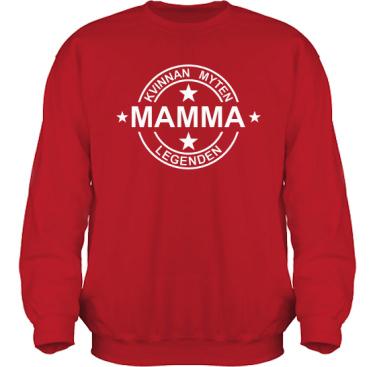 Sweatshirt HeavyBlend Röd/Vitt tryck i kategori Familj/Kärlek: Myten Legenden Mamma