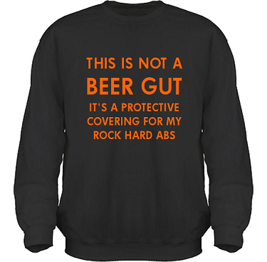 Sweatshirt HeavyBlend Svart/Orange tryck i kategori Alkohol: Not a beer gut
