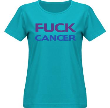 T-shirt SouthWest Dam Aquablå/Violett och royalblått tryck i kategori Attityd: Fuck Cancer