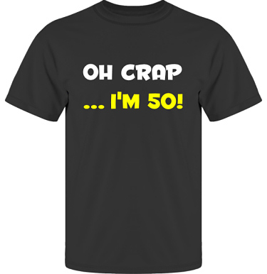 T-shirt UltraCotton Svart/Vitt och gult tryck i kategori Blandat: Oh Crap