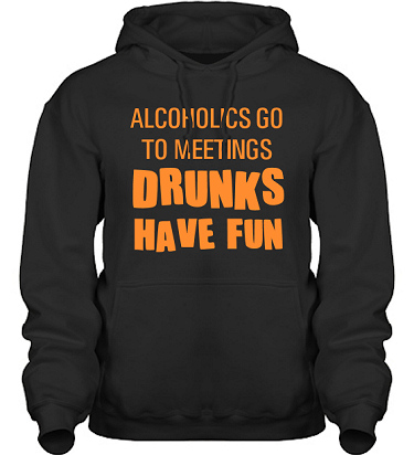 Hood HeavyBlend Svart/Orange tryck  i kategori Alkohol: Drunks have fun