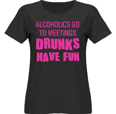 T-shirt SouthWest Dam Svart/Cerise tryck i kategori Alkohol: Drunks have fun