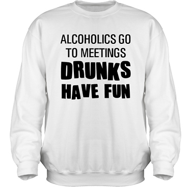 Sweatshirt HeavyBlend Vit/Svart tryck  i kategori Alkohol: Drunks have fun