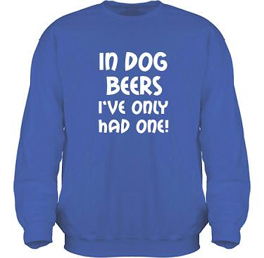 Sweatshirt HeavyBlend Royalblå/Vitt tryck i kategori Alkohol: In dog beers