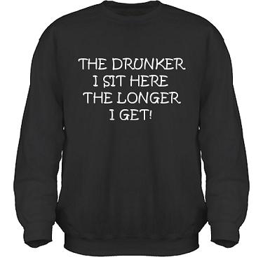 Sweatshirt HeavyBlend Svart/Vitt tryck i kategori Alkohol: The drunker I sit