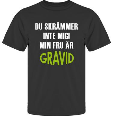T-shirt UltraCotton Svart/Vitt och äppelgrönt tryck i kategori Familj/Kärlek: Du skrämmer inte mig
