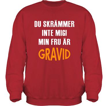 Sweatshirt HeavyBlend Röd/Vitt och orange tryck i kategori Familj/Kärlek: Du skrämmer inte mig