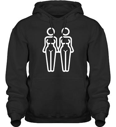 Hood HeavyBlend Svart/Vitt tryck i kategori Familj/Kärlek: Women in Love