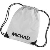 Gympåse i kategori Eget namn/text: Gym Bag Silver