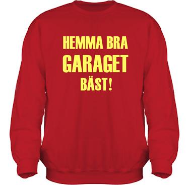 Sweatshirt HeavyBlend Röd/Gult tryck i kategori Motor: Hemma bra Garaget bäst