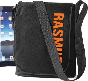 iPad-väska Svart/Orange tryck i kategori Eget namn/text: iPad-väska Svart