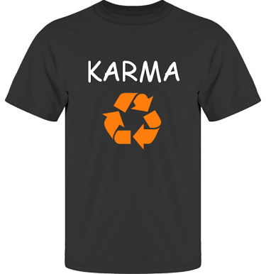 T-shirt UltraCotton Svart/Vitt och orange tryck i kategori Kloka ord: Karma