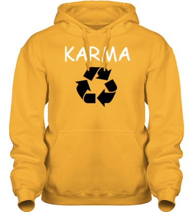 Hood HeavyBlend Gul/Vitt och svart tryck i kategori Kloka ord: Karma