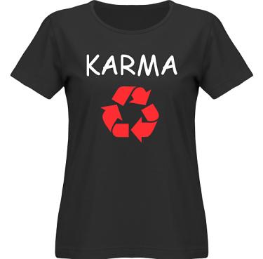T-shirt SouthWest Dam Svart/Vitt och rött tryck i kategori Kloka ord: Karma