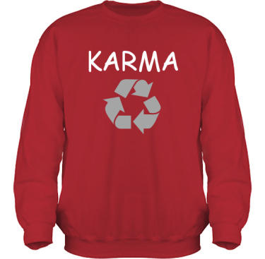 Sweatshirt HeavyBlend Röd/Vitt och grått tryck i kategori Kloka ord: Karma
