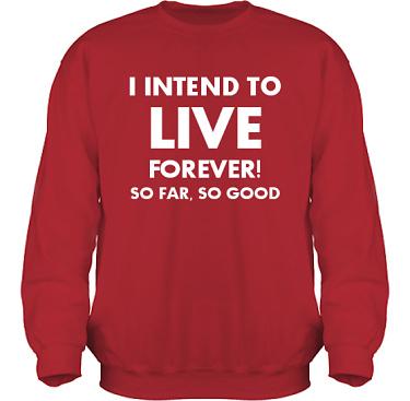 Sweatshirt HeavyBlend Röd/Vitt tryck i kategori Attityd: Live Forever