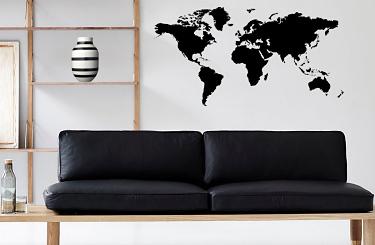 Väggdekor Svart i kategori Geografi: Världskarta