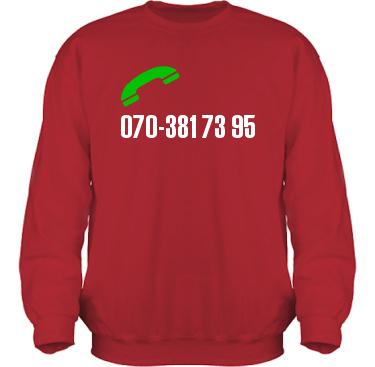 Sweatshirt HeavyBlend Röd/Vitt tryck i kategori Blandat: Ring mig