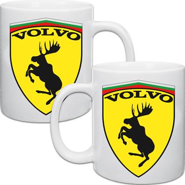 Vit keramikmugg Volvo 2-pack i kategori Muggar: Mugg Volvo 2-pack
