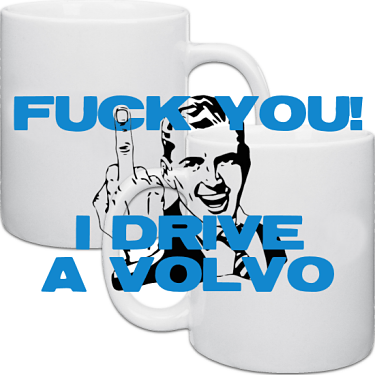 Vit keramikmugg F**k you I drive a Volvo 2-pack i kategori Muggar: Mugg F**k You 2-pack