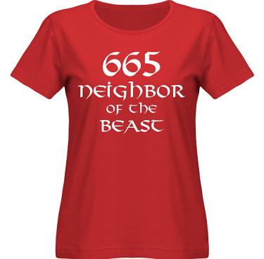 T-shirt SouthWest Dam Röd/Vitt tryck i kategori Musik-Hårdrock: Neighbor