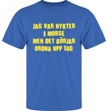 T-shirt UltraCotton Royalblå/Gult tryck  i kategori Alkohol: Nykter i morse
