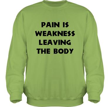 Sweatshirt HeavyBlend Kiwi/Svart tryck i kategori Attityd: Pain is weakness