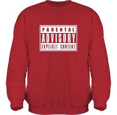Sweatshirt HeavyBlend Röd/Vitt tryck i kategori Film/TV: Parental Advisory