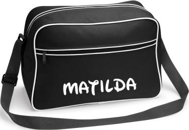 Retro Shoulder Bag Svart/Vitt tryck i kategori Eget namn/text: Axelväska Svart