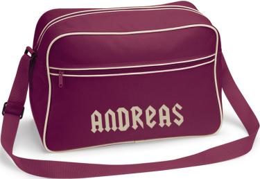 Retro Shoulder Bag Vinröd/Sandfärgat tryck i kategori Eget namn/text: Axelväska Vinröd