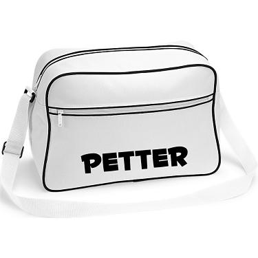 Retro Shoulder Bag Vit i kategori Eget namn text  Axelväska Vit 808af1f0aa1a6