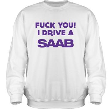 Sweatshirt HeavyBlend Vit/Violett tryck i kategori Motor: Saab F**k You