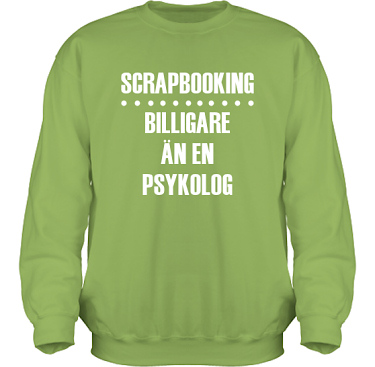 Sweatshirt HeavyBlend Kiwi/Vitt tryck  i kategori Scrapbooking: Billigare än en psykolog