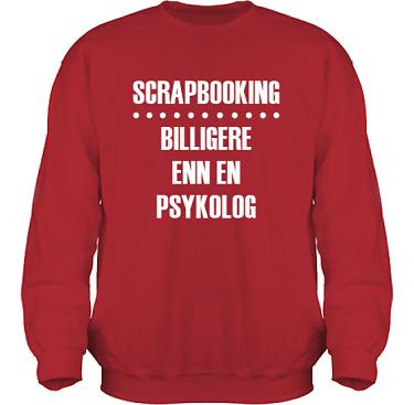 Sweatshirt HeavyBlend Röd/Vitt tryck i kategori Scrapbooking: Billigere enn en psykolog
