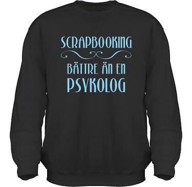 Sweatshirt HeavyBlend Svart/Ljusblått tryck  i kategori Scrapbooking: Bättre än en psykolog