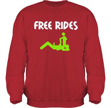 Sweatshirt HeavyBlend Röd/Vitt och äppelgrönt tryck i kategori Sexxx: Free Rides