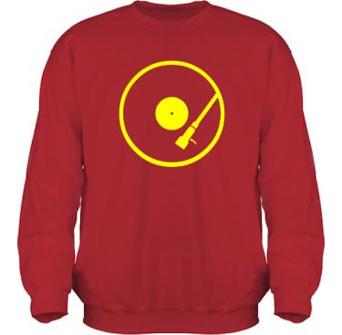 Sweatshirt HeavyBlend Röd/Gult tryck i kategori Musik: Turntable