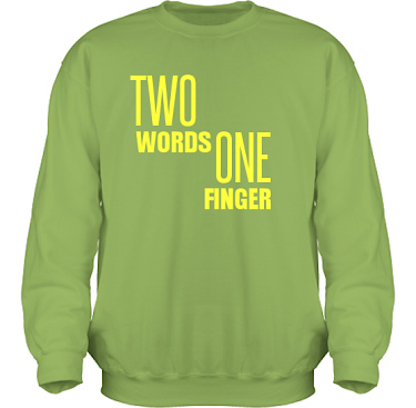Sweatshirt HeavyBlend Kiwi/Gult tryck i kategori Attityd: Two Words One Finger
